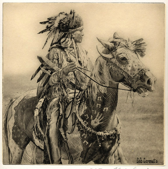 "Bob Coronato ~ etching ~ ""Horse Mask"""